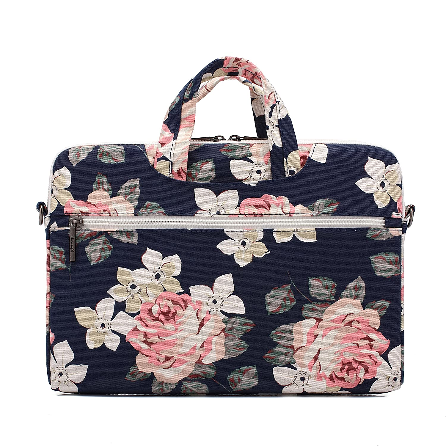 canvaslife White Rose Waterproof Patten Canvas Laptop Shoulder Messenger Bag Case Sleeve for 11 Inch 12 Inch 13 Inch Laptop and 11//12// 13