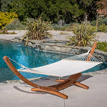 weston larch wood  u0026 canvas hammock w  stand amazon     weston larch wood  u0026 canvas hammock w  stand   garden      rh   amazon