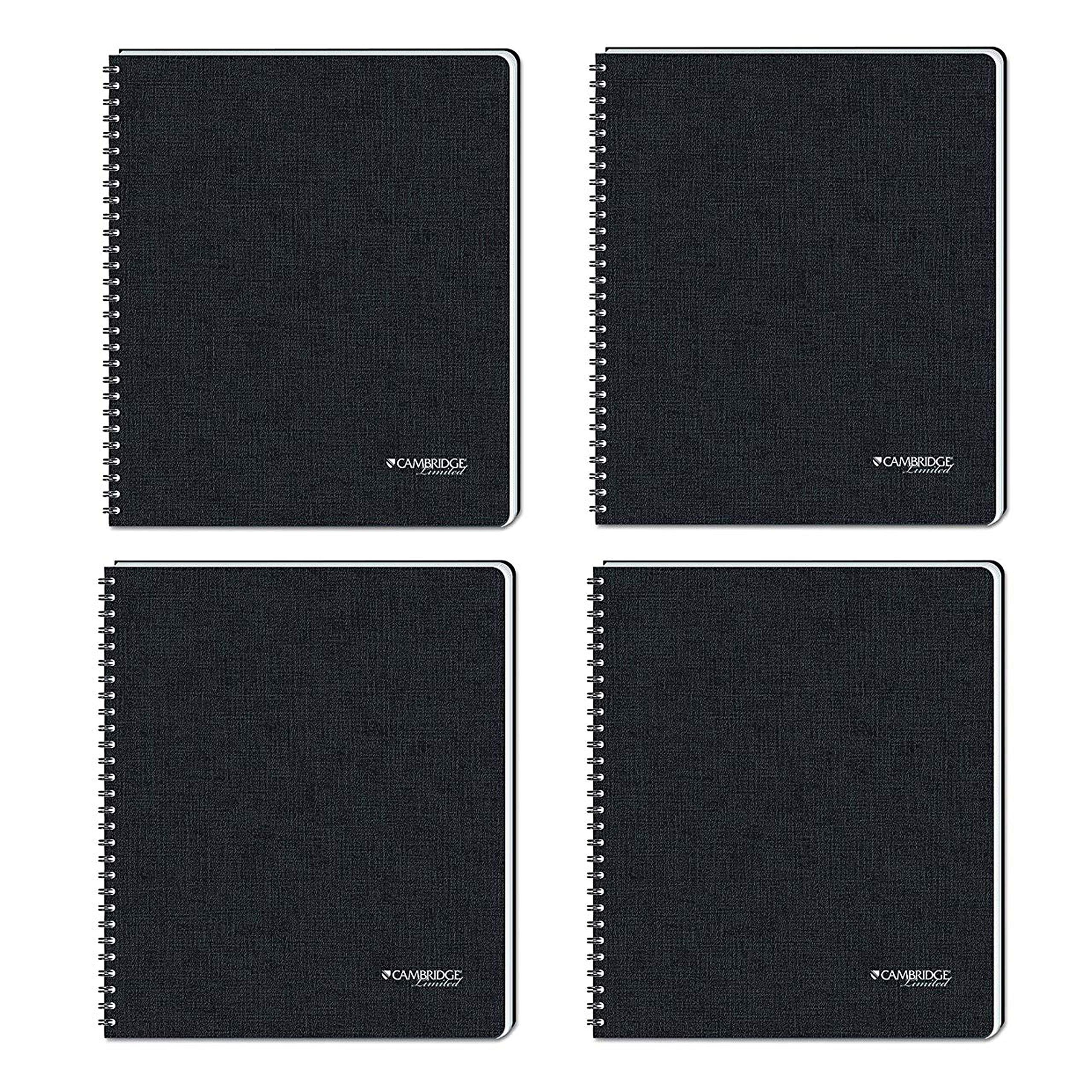Cambridge Business Notebook with Pocket, Hardbound, 8-1/4 x 11 Inches, Black, Pack of 4 (06100)