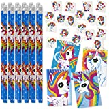 Unicorn Party Supplies Favors includes 144 Unicorn Tattoos 12 Unicorn Pencils 12 Unicorn Notepads for Boys Girls Kids Teens Birthday Supplies