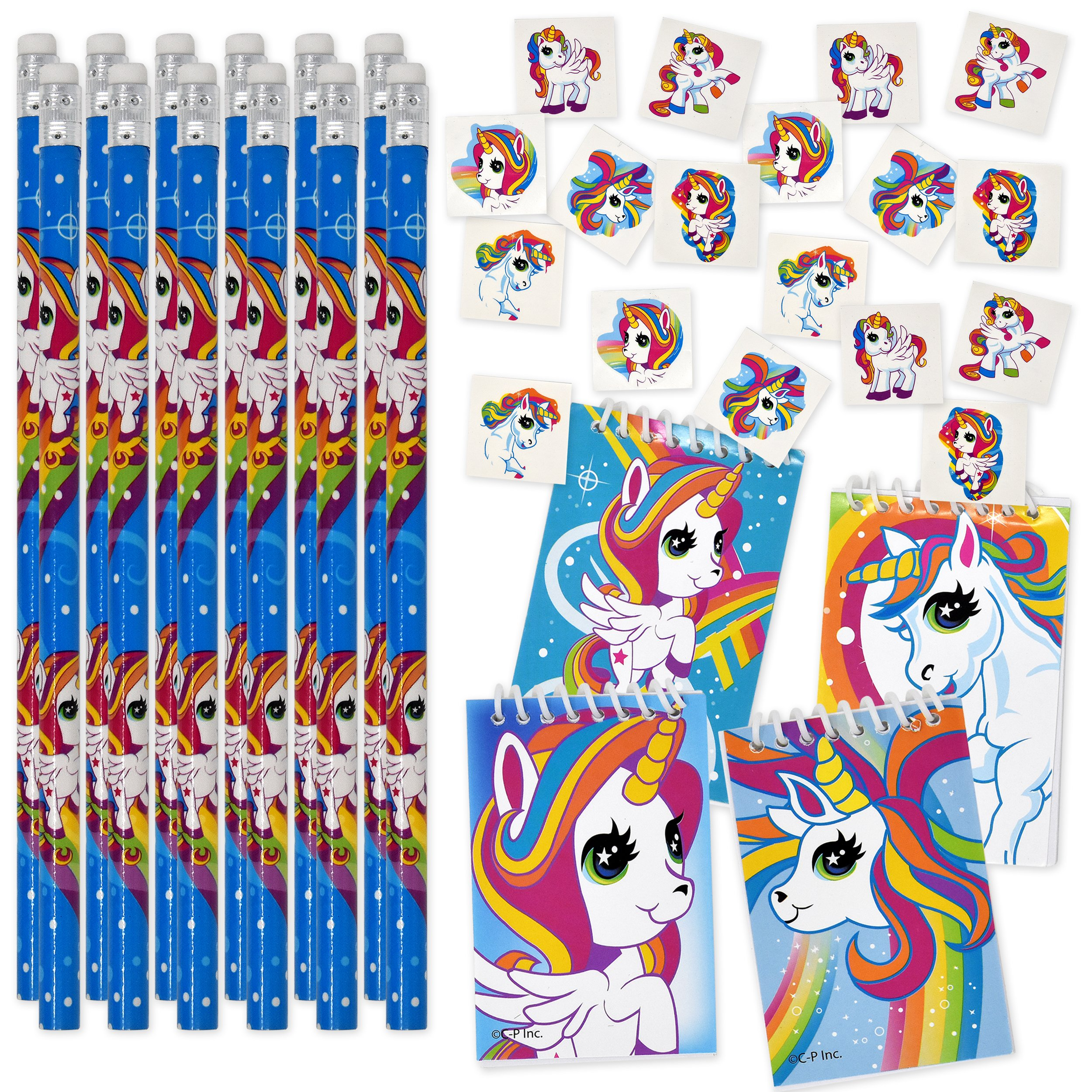 Unicorn Party Favors for Girls Rainbow Birthday Supplies Includes 144 Unicorn Temporary Tattoos 12 Unicorns Pencils and 12 Unicorn Notepads for Kids School Classroom Favor Set by Gift Boutique