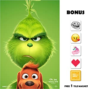 The Grinch Movie Poster 13 in x 19 in Poster Flyer Borderless + Bonus 1 Free Tile Magnet