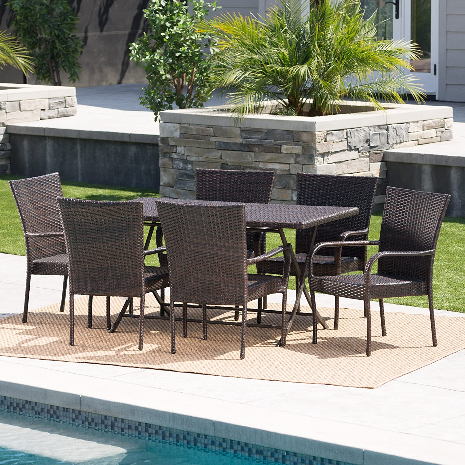 Christopher Knight Home Nina Outdoor 7 Piece Multi-Brown Wicker Dining Set with Foldable Table and Stacking Chairs