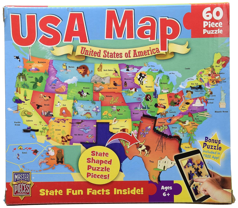 Amazoncom MasterPieces USA Map Jigsaw Puzzle Piece Toys  Games - Florida map jigsaw puzzle