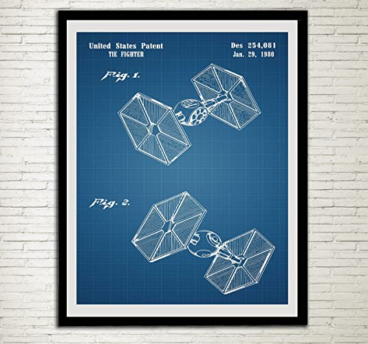 Star Wars Patent Home Office Decor Star Wars SpaceCraft Art Prints Tie  Fighter Wall Art Hanging
