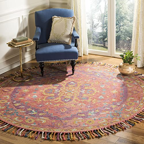 Safavieh Aspen Collection APN226A Pink and Violet Premium Wool Round Area Rug 7 Diameter