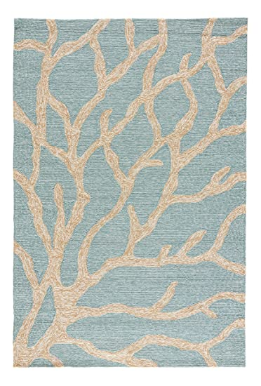 jaipur living coral indoor outdoor novelty blue area rug 2u0027 x