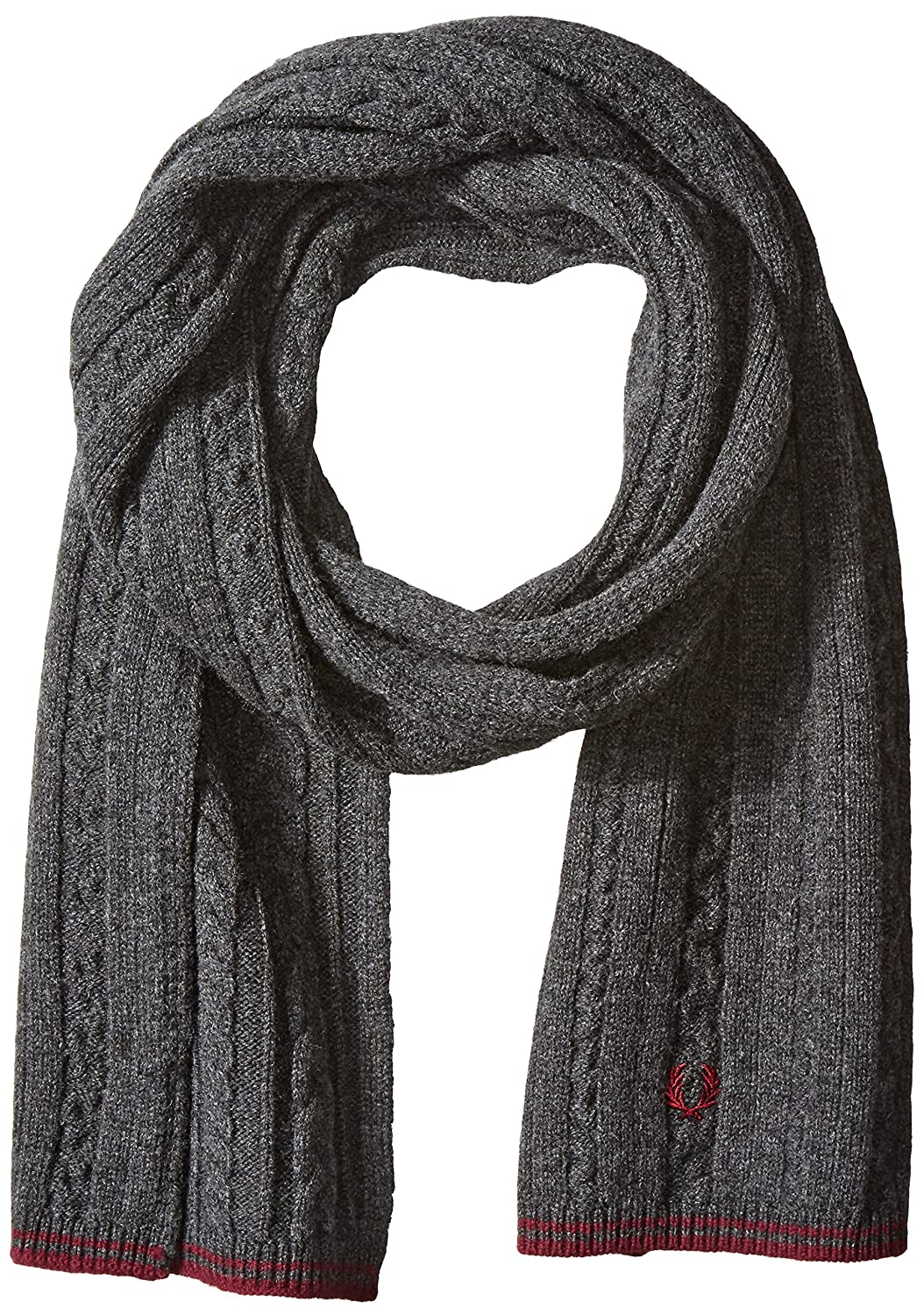 Fred Perry Men's Tipped Cable Scarf Charcoal/Maroon One Size C9109