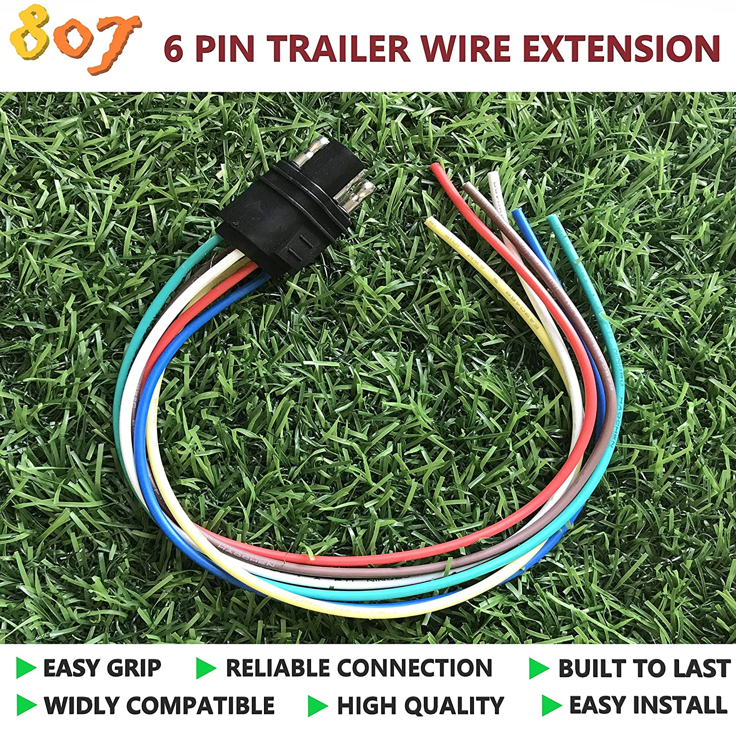 amazon com bbtree 807 square 6 way trailer wiring harness 6 pin trailer wiring harness jst gh 6 pin connector wiring harness