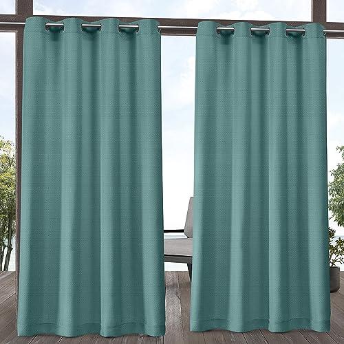 Exclusive Home Curtains Aztec Indoor Outdoor Grommet Top Curtain Panel Pair, 54×108, Teal