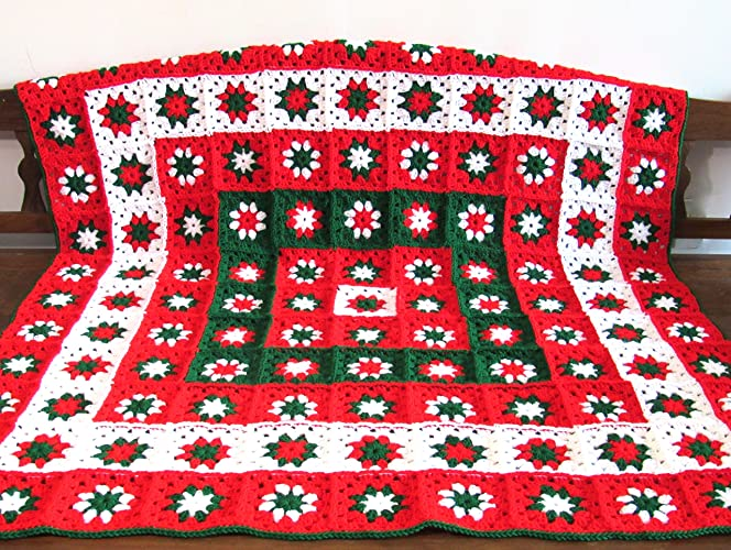 Amazoncom Handmade Crochet Blanket Christmas Afghan Throw Handmade