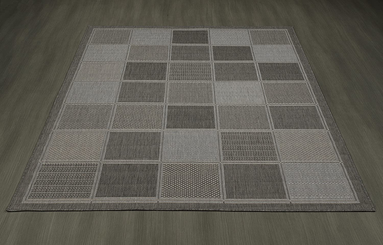 20 X 59 Ottomanson Jardin Collection Boxes Design Runner Rug Gray