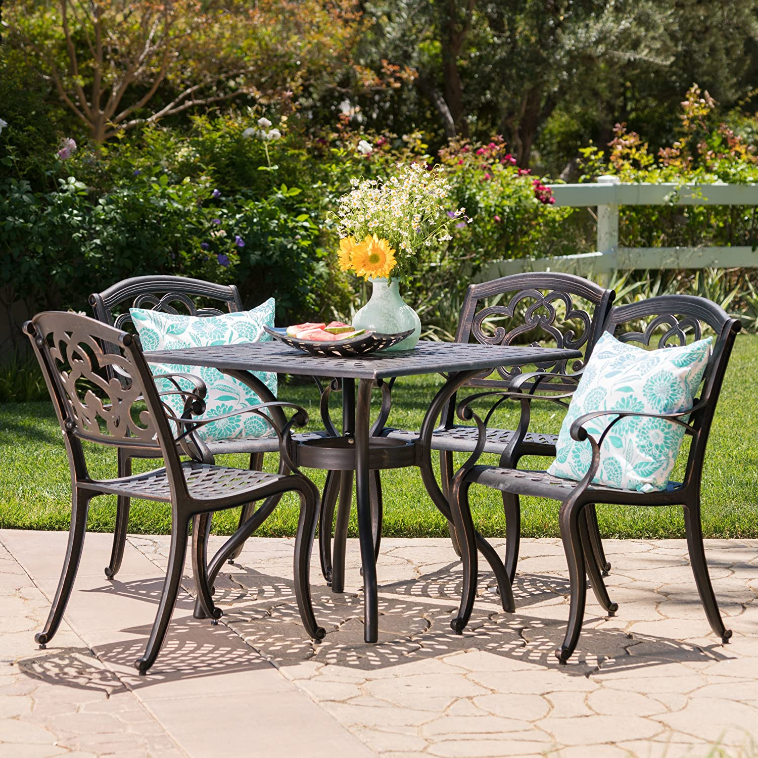 Amazon.com: Augusta | 5 Piece Outdoor Cast Aluminum Dining Set | Perfect  for Patio | in Shiny Copper: Garden & Outdoor - Amazon.com: Augusta 5 Piece Outdoor Cast Aluminum Dining Set