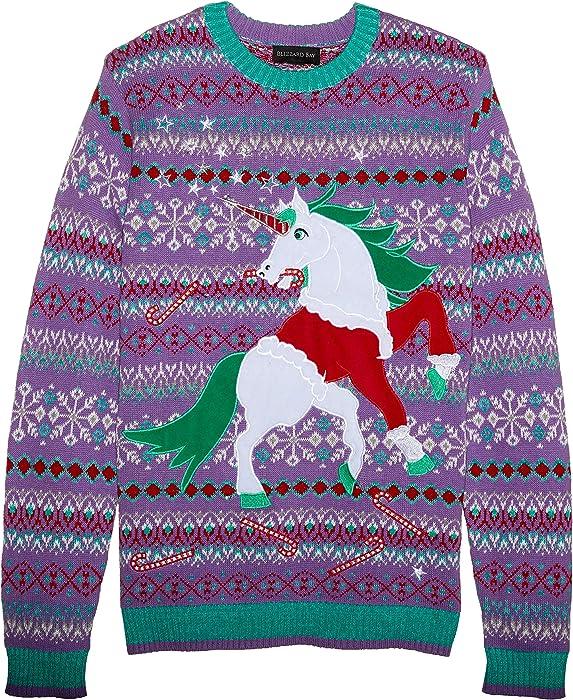 7bb556da01a Blizzard Bay Men s Santa Suit Unicorn Ugly Christmas Sweater ...