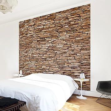 Non Woven Wallpaper Crete Stonewall Mural Square Wallpaper Wall