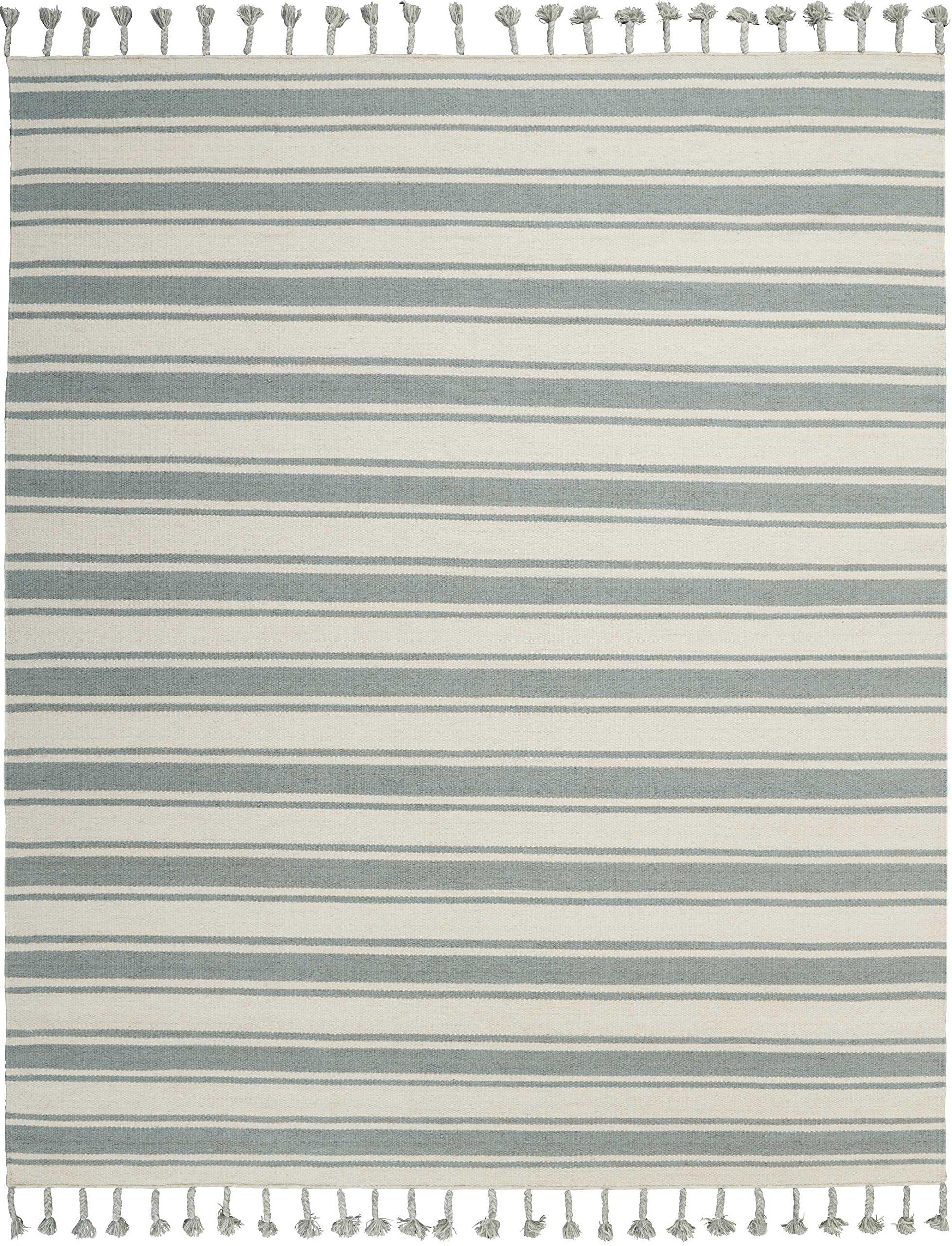 Nourison SLN01 Solano Collection Modern/Contemporary Area Rug, 8' x 10'6'', Ivory/Spa