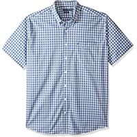 Nautica Men's Big and Tall Short Sleeve Wrinkle Resistant Lux Plaid Button Down Shirt