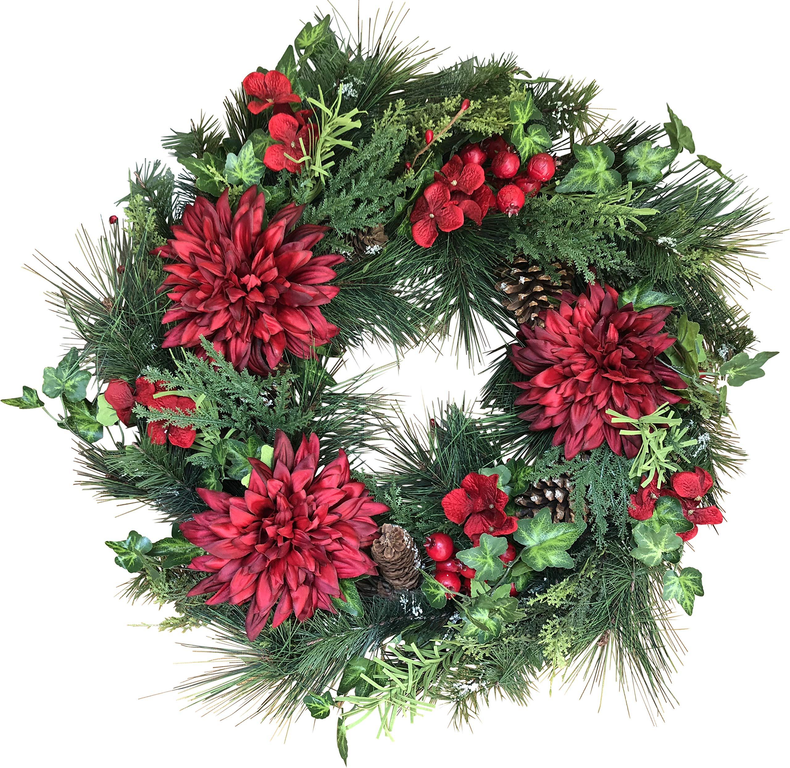 The Wreath Depot Jasper Winter Wreath, 22 Inches, Stunning Full Winter Wreath Design, Gift Box Included