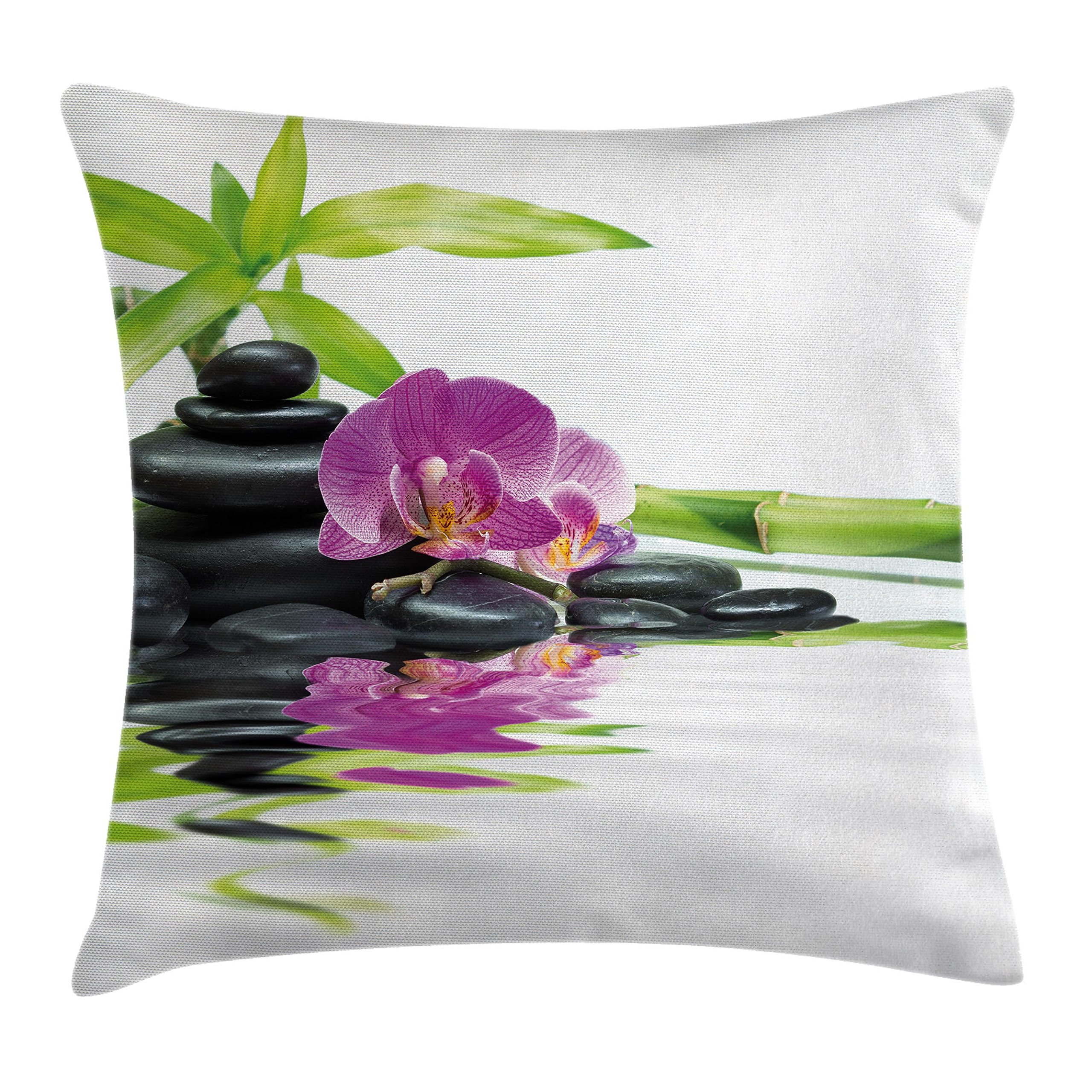 Ambesonne Spa Decor Throw Pillow Cushion Cover, Asian Relaxation with Zen Massage Stones Purple Orchid and a Bamboo, Decorative Square Accent Pillow Case, 16 X 16 Inches, Purple Black and Green