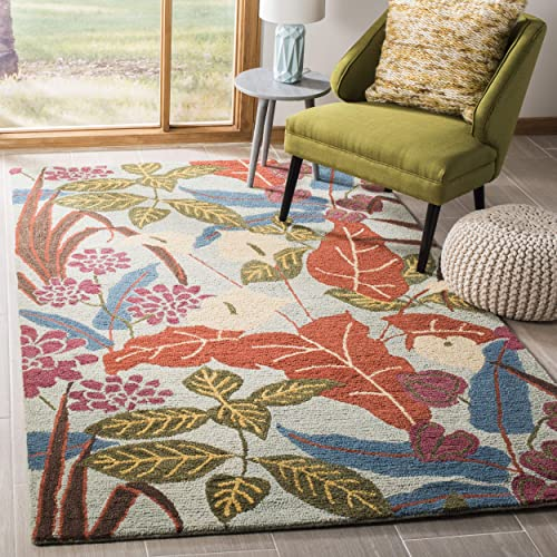 Safavieh Blossom Collection BLM674A Handmade Blue and Multi Premium Wool Area Rug 4 x 6