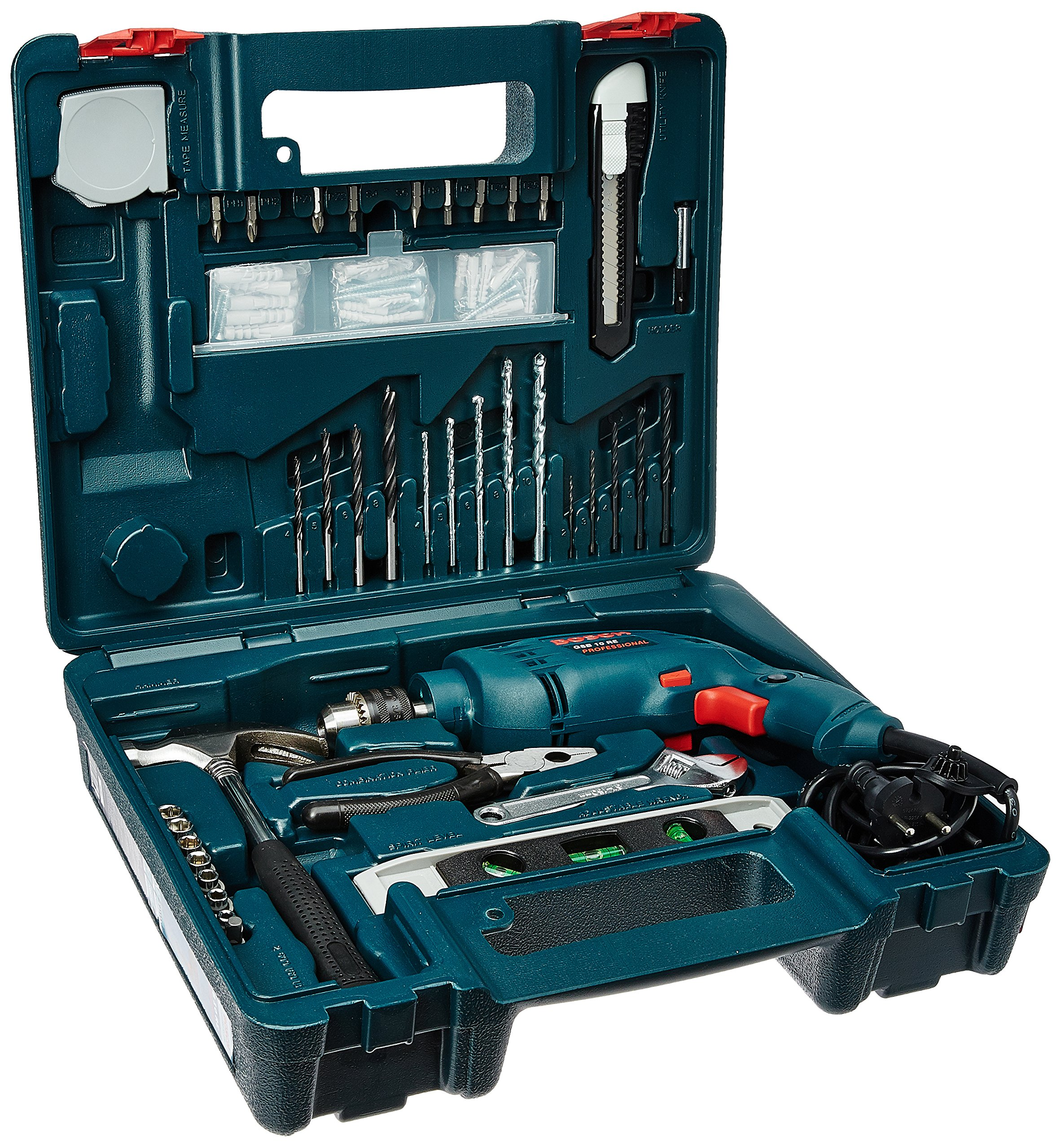 Bosch GSB 500W 10 RE Professional Tool Kit, MS and Plastic (Blue, Pack of 100) product image