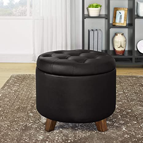 Surprising Lifedecor Faux Leather Storage Ottoman Bench Lift Top Button Tufted Footstool Seat With Storage Chest Espresso Pabps2019 Chair Design Images Pabps2019Com