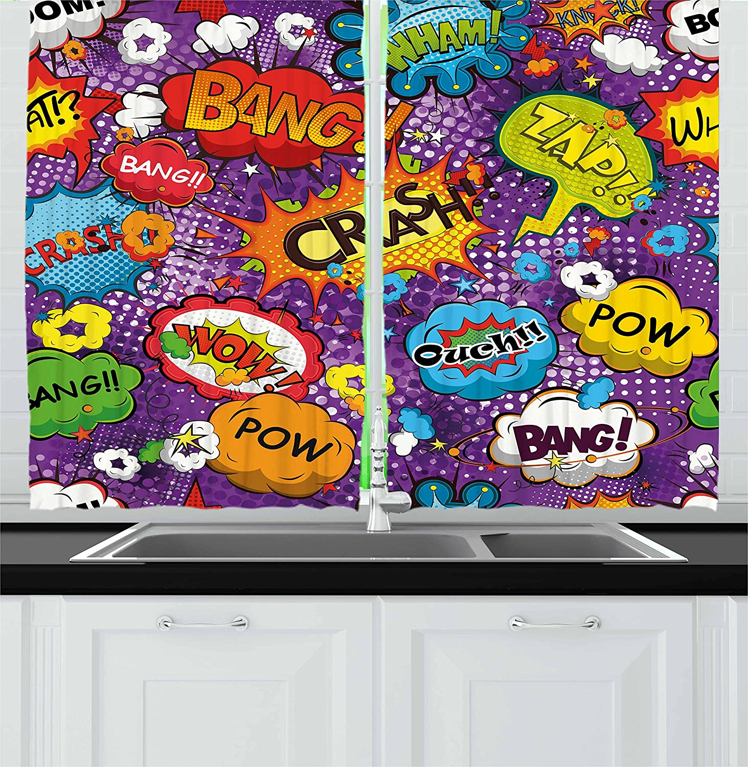 Amazon Ambesonne Retro Curtains Comic Book Style Speech Bubbles Effects Humorous Fun Pop Art Contemporary Design Living Room Bedroom Window Drapes 2