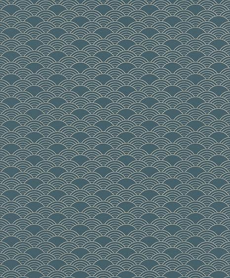 . Modern Art Art Deco Waves Wallpaper Teal Silver Rasch 621020