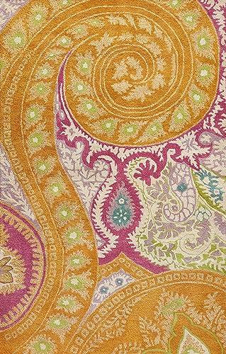EORC IE8780B Hand Tufted Wool Paisley Rug, 5-Feet by 8-Feet, Orange