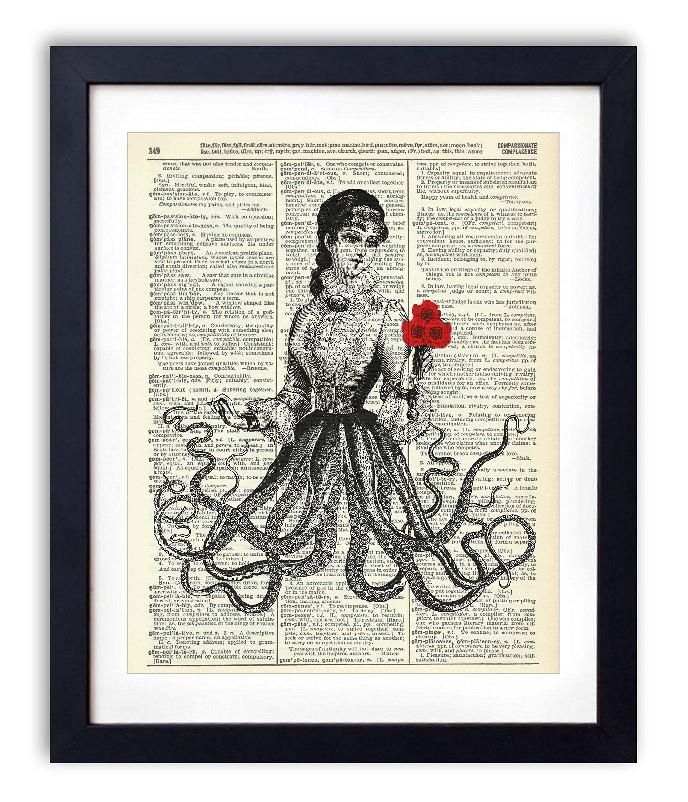 Victorian Octopus Lady Upcycled Vintage Dictionary Art Print 8x10 3