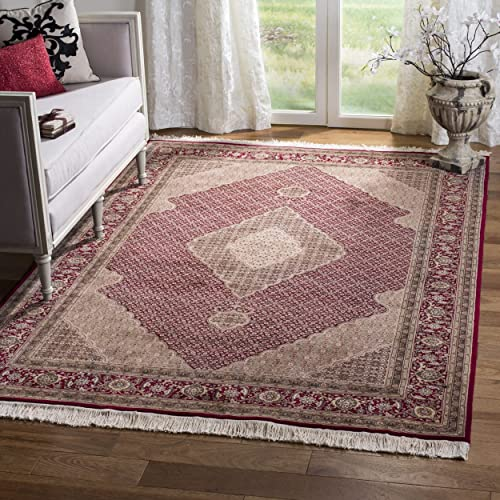 Safavieh Tabriz Herati Collection TH27 Hand-Knotted Traditional Red Silk Wool Area Rug 9 x 12