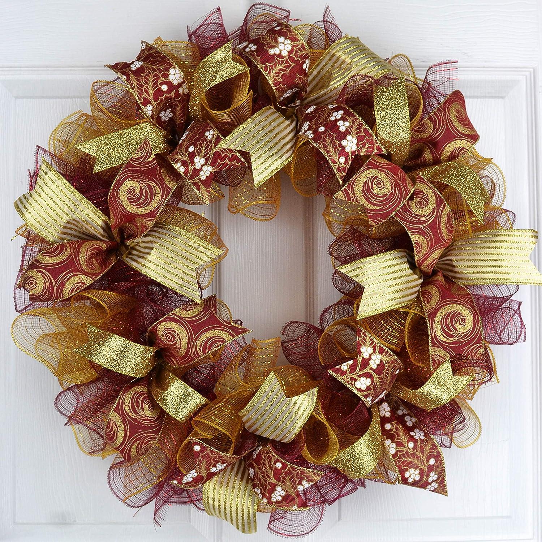 Amazon Com Burgundy Christmas Wreath Gold Christmas Mesh Wreath