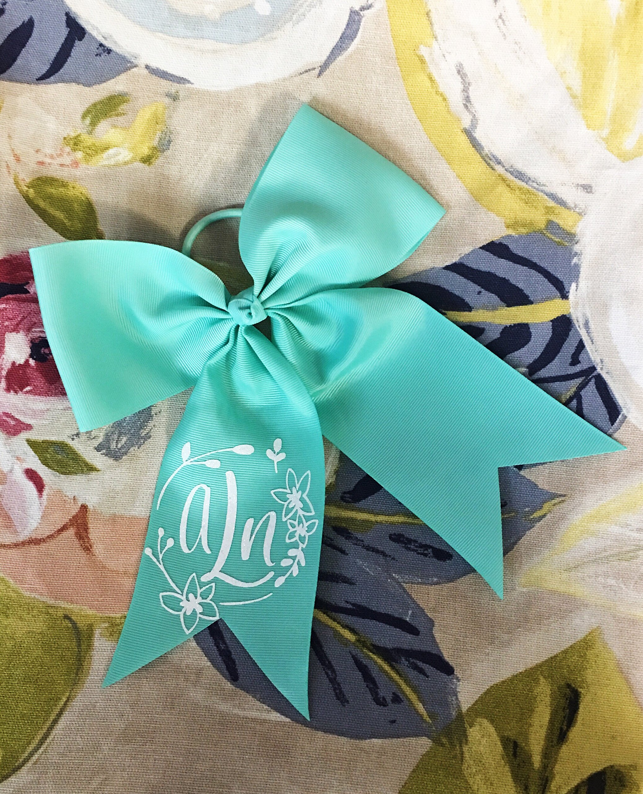 Girls Personalized Flower Monogram Hair Bow