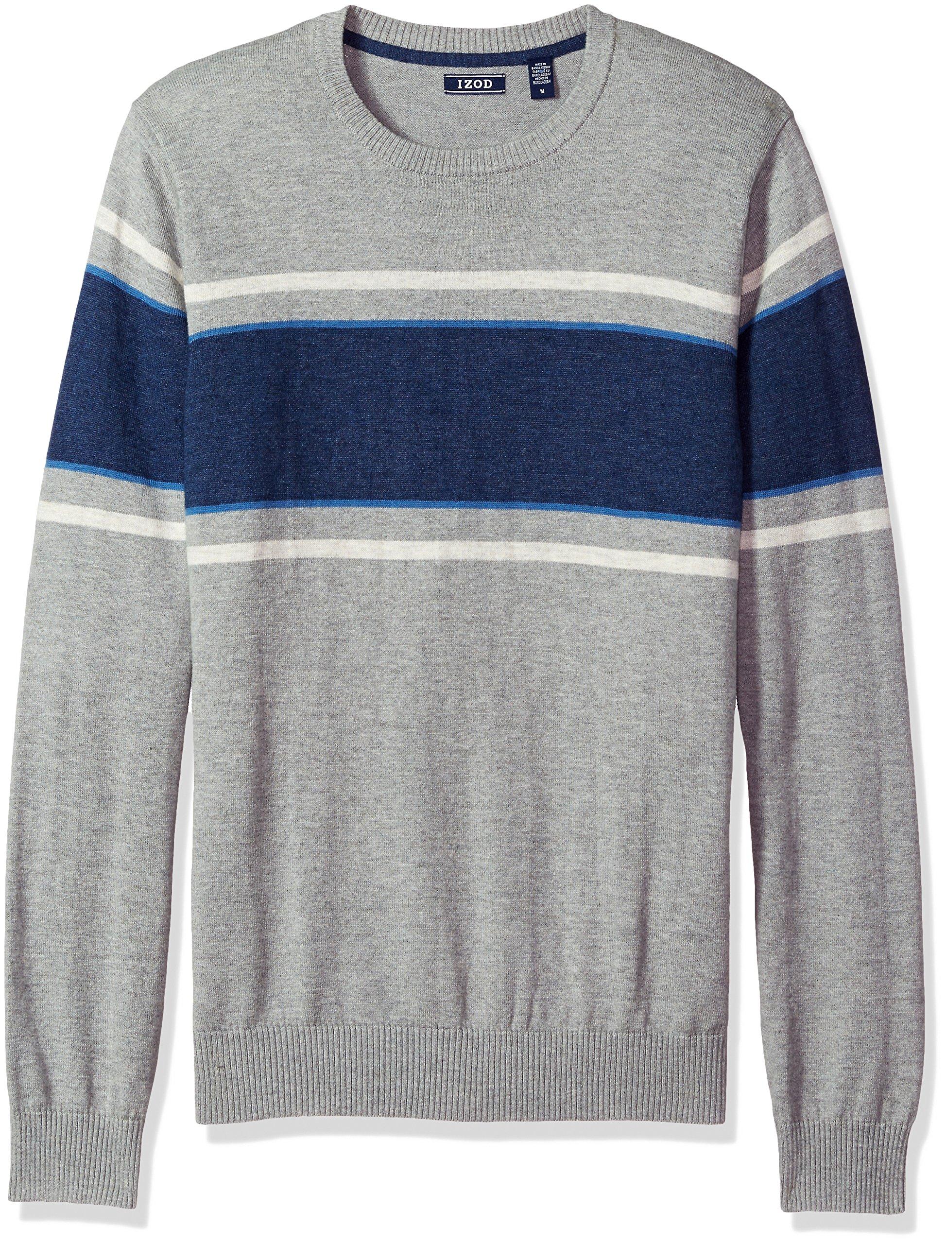 IZOD Men's Fine Gauge Crew Sweater, Light Gray Heather, Large