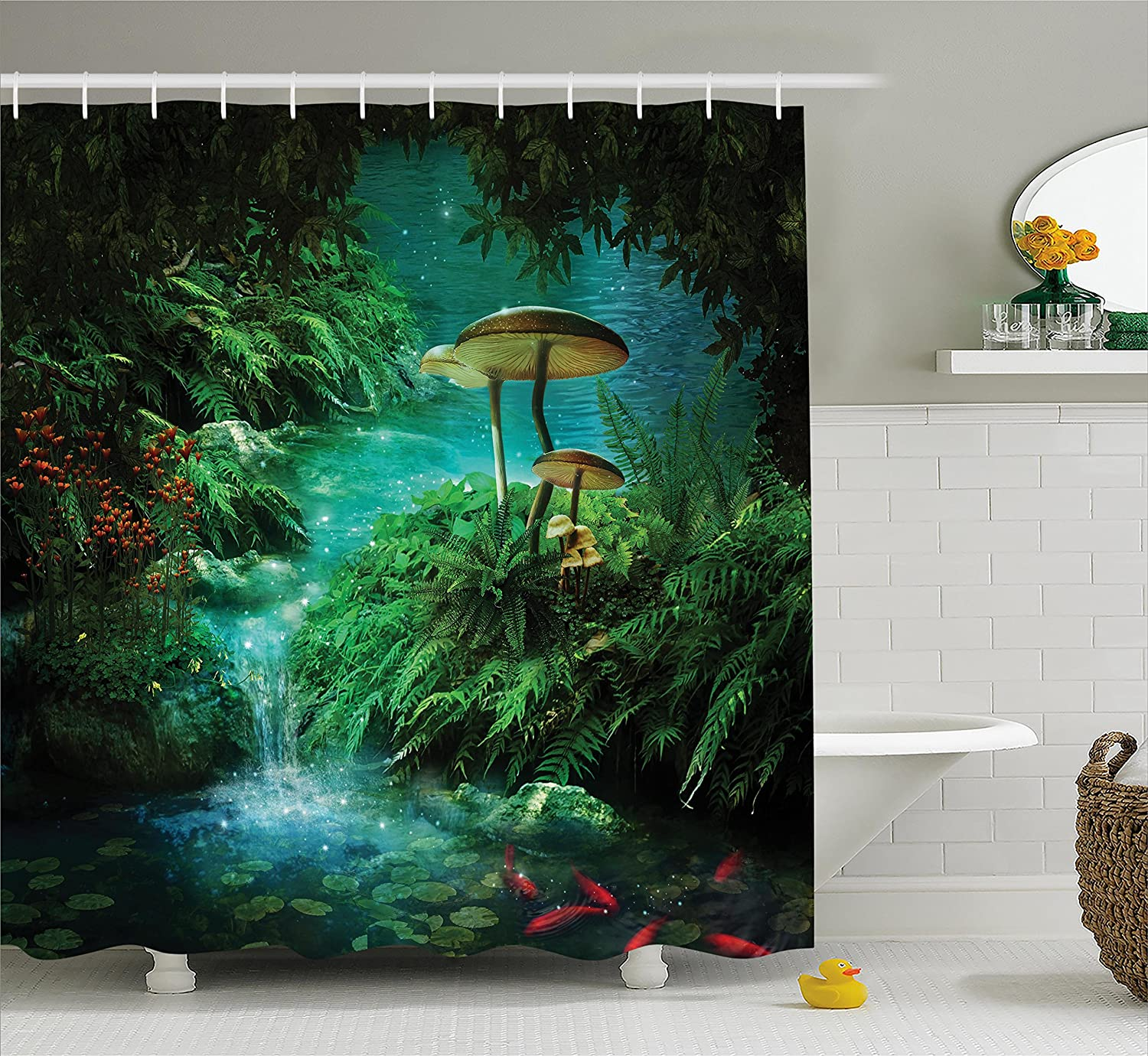 Ambesonne Fantasy House Decor Collection, View Of Fantasy River with A Pond, Fish And Mushroom in Jungle Trees moss eden, Polyester Fabric Bathroom Shower Curtain Set with Hooks, Green Teal Red