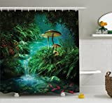 Cartoon Group of Animals in Noahs Ark Childish Cheering Design Artwork Ambesonne Noahs Ark Decor Collection Polyester Fabric Bathroom Shower Curtain Blue Peru Yellow 84 inches Extra Long