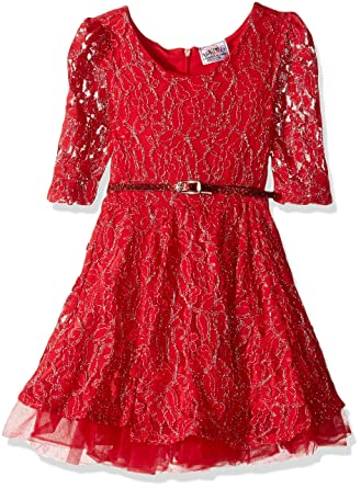 687dd0d16d06 Amazon.com  Beautees Girls  Little Three-Quarter-Sleeve Solid Lace ...