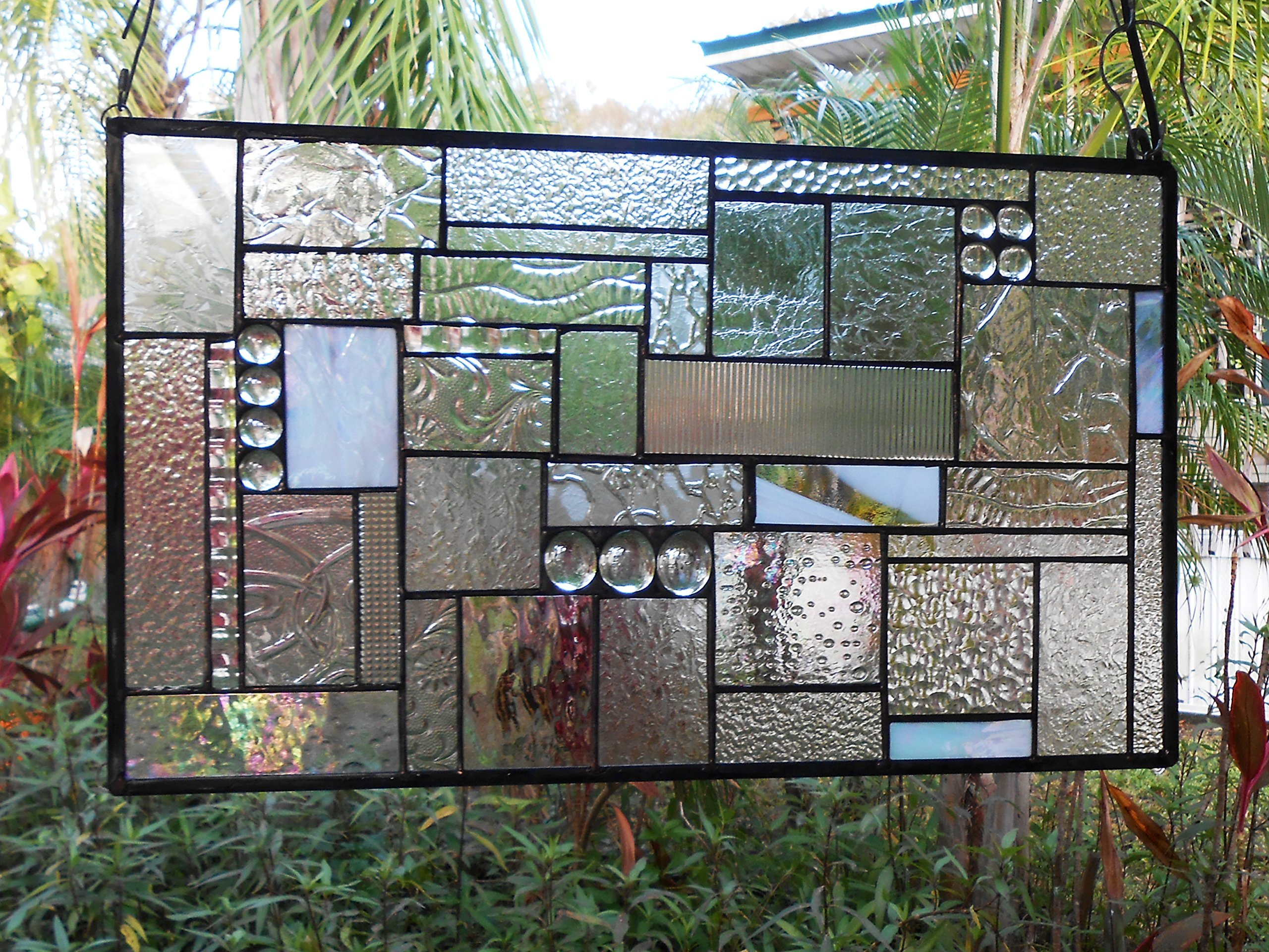Stained Glass Panel, Stained Glass Transom Window, Crystal Clear Textures Glass Window Valance, Geometric Patchwork Stained Glass Window Treatment, Handmade Glass Quilt