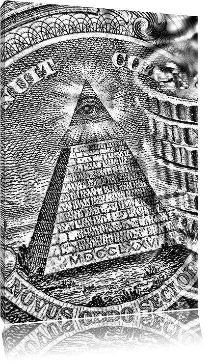 Monocrome, Illuminati pirámide, Negro y whiteon lienzo, XXL enormes ...