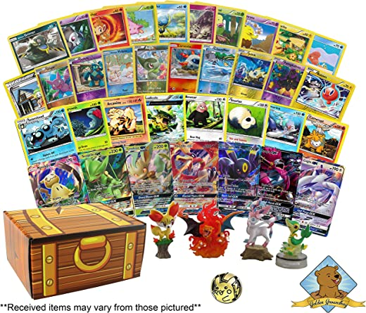 Pokemon 100 Card Lot Bundle - Featuring Foils - Rares - GX - Collectible Figure - Collectible Coin! Includes Golden Groundhog Treasure Chest Storage Box!