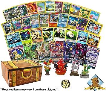Lote de 100 Cartas Pokemon con láminas - Rares - GX - Figura Coleccionable - Moneda Coleccionable. Incluye Caja de Almacenamiento Golden Groundhog Treasure: Amazon.es: Juguetes y juegos