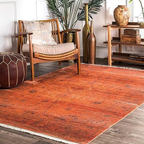 nuLOOM Alethia Herati Fringe Area Rug, 8 x 10 , Orange