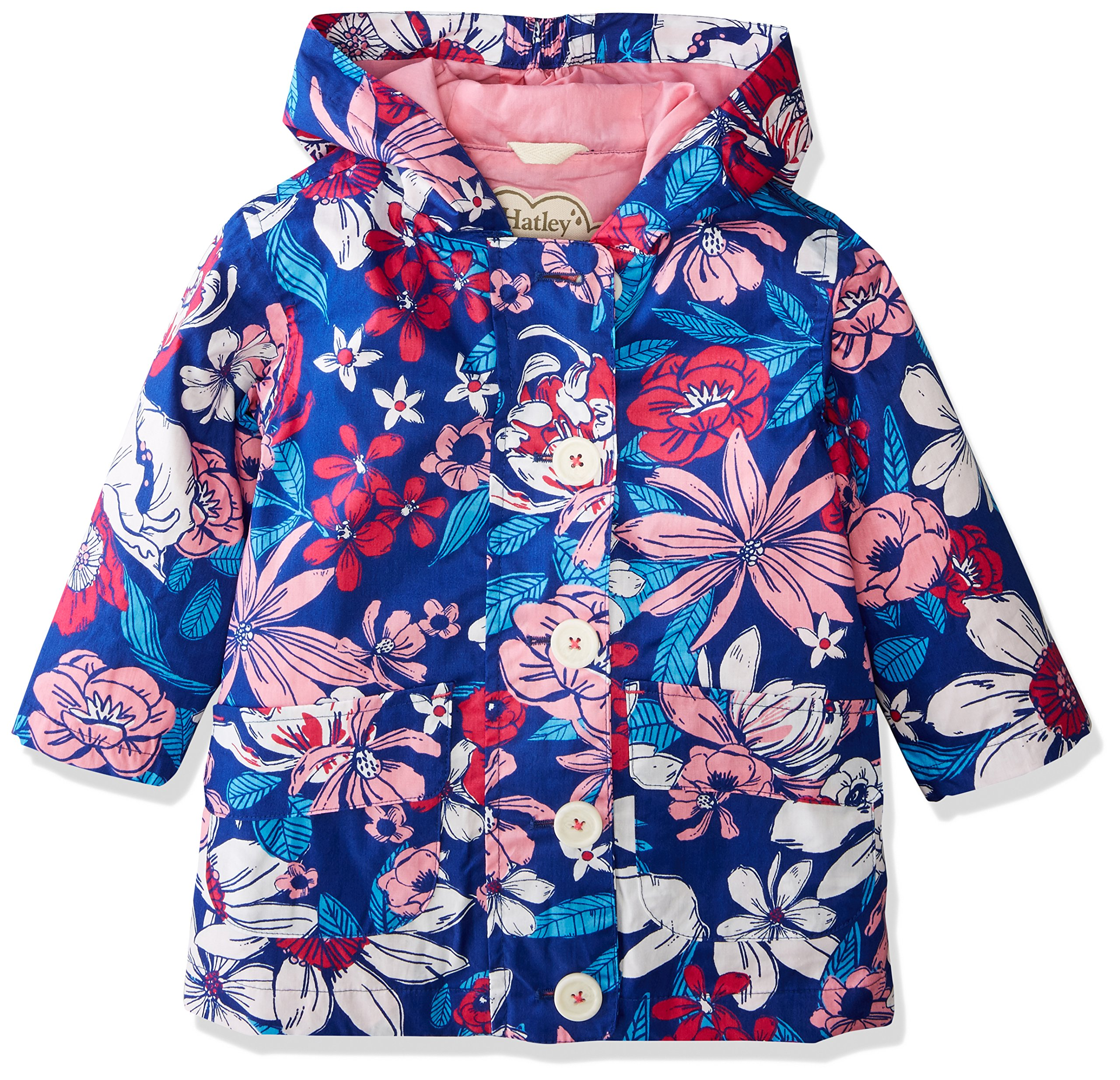 Hatley Big Girls' Cotton Coated Raincoat, Miyako Blooms, 10