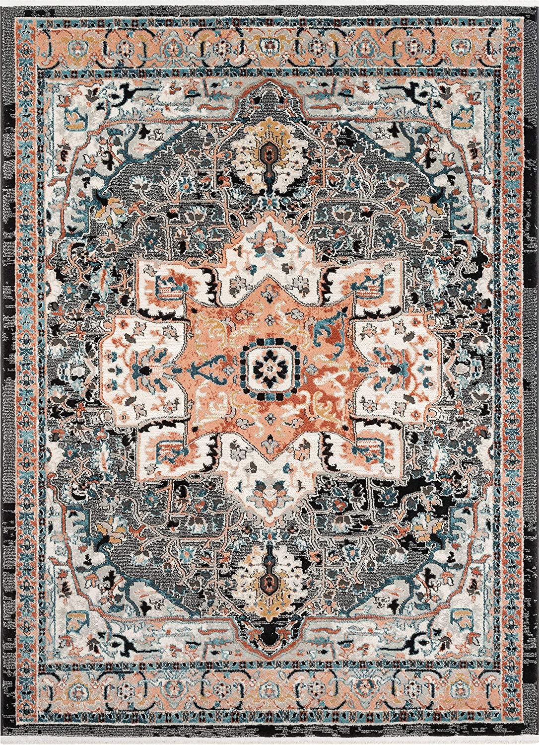 Well Woven Lycie Multi Black Pink Vintage Oriental Distressed Medallion Pattern Boho Area Rug 5x7 5 3 X 7 3 Home Kitchen