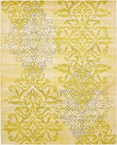 Unique Loom Damask Collection Traditional Floral Cream Area Rug 8 0 x 10 0