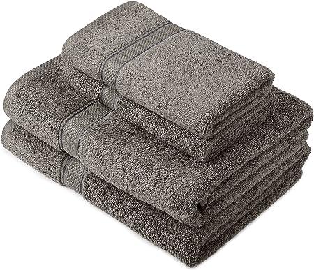 Pinzon by Amazon - Juego de toallas de algodón egipcio (2 toallas de baño y 2 toallas de manos), color gris: Amazon ...