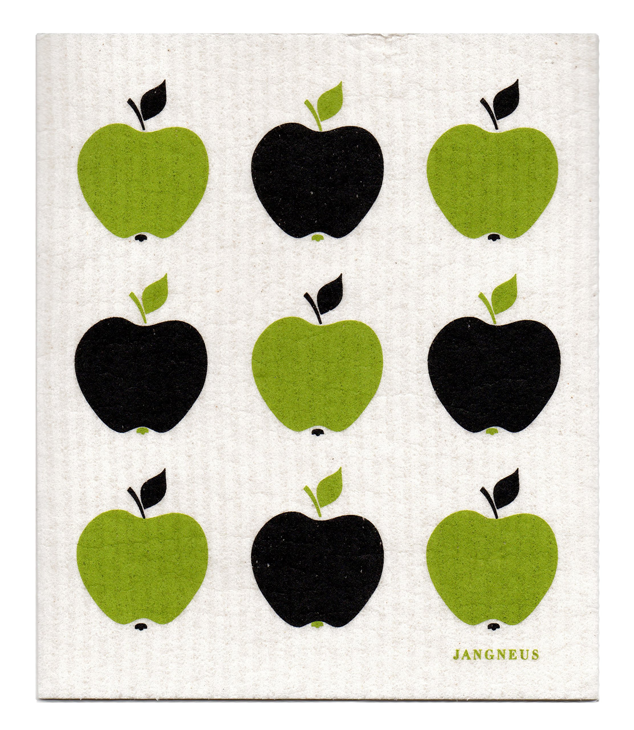 Swedish Dishcloth, Set of 4 (BG) Black & Green Plants Designs by Trendy Tripper (Image #4)