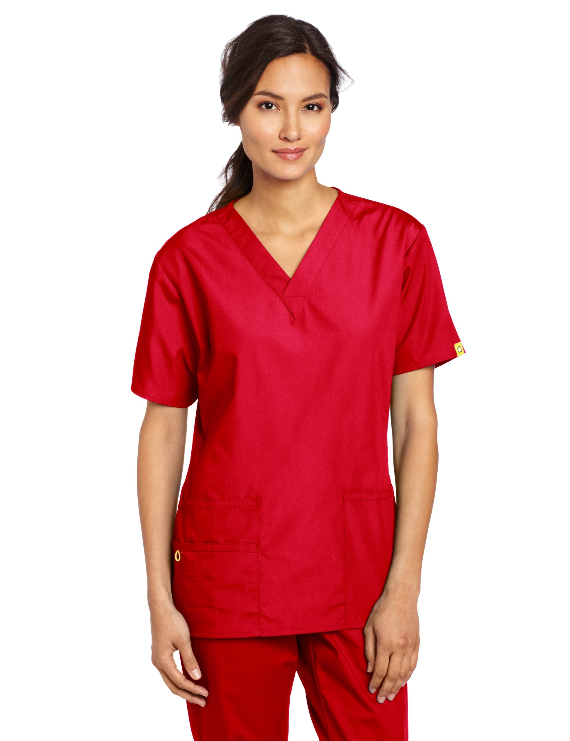 WonderWink Women's Scrubs Bravo 5 Pocket V-Neck Top, Red, Medium