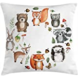 Woodland Throw Pillow Cushion Cover by Lunarable, Animals of the Forest with Mushrooms Acorns Circular Frame Cartoon Pastel Colors, Decorative Square Accent Pillow Case, 16 X 16 Inches, Multicolor