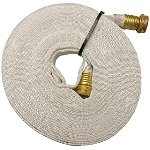 Key Fire 017-FF058-450 Polyester/Polyurethane/Brass/Plastic/Rubber 1061 Pencil Line Lay Flat Garden Hose, GHT Connection, 300 psi Maximum Pressure, 50' Length, 5/8